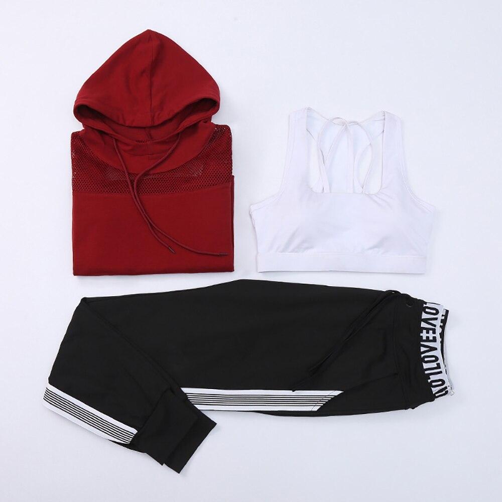Costume de Yoga rayé femmes 3 pièces ensemble veste à capuche Sportswear soutien-gorge de sport + chemise de Yoga à manches longues + pantalons Leggings de Yoga