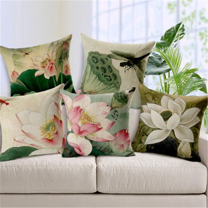 Vintage Style Decorative Throw Pillows Lotus Flower Cotton Linen Seat Retro Cushion Cover For Sofa Home