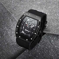 Baogela Pirate Skull Style Men Watch Silicone Luminous Quartz Watches Military Wateproof Skeleton Wristwatch For Man 1612
