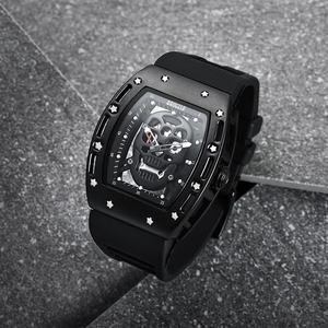 Baogela Pirate Skull Style Men Watch Sil