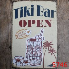 20X30 cm metalowa plakietka emaliowana Tiki Bar otwarty Bar Pub w stylu Vintage Retro plakat Cafe Art(China)