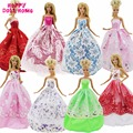 Random 5x Princess Wedding Gown Party Dress Fashion Wear Mix Styles Clothing High Quality Clothes For Barbie Doll Accessories