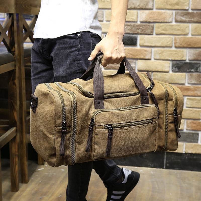 Vintage Military Canvas Men Travel Bags Carry on Luggage Bags Men Duffel Bags Travel Tote Large Weekend Bag Overnight mealivos men travel bag for luggage overnight travel bag carry on duffel with shoe pouch duffel bags big weekend bags