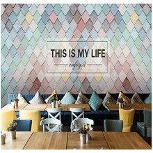 Papel pintado 3D de mejora del hogar para Bar té frío tienda Bar paredes 3d patrón geométrico de Color decorativo pared grande murales frescos