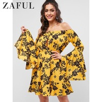 ZAFUL Floral Sleeve Lantern Vacation Beach Sling Floral Flounce Off Shoulder Organza Dress Sexy Evening Party Bodycon Wholesale