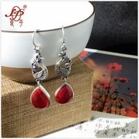 L P Pure Handmade 925 Sterling Silver Drop Earrings For Women Top Quality Red Corundum Earrings