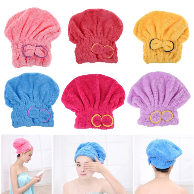 Microfiber Dry Hair Hat Solid Quickly Dry Hair Hat Hair Turban Women Girls Ladies Cap Bathing Drying Towel Head Wrap Hat