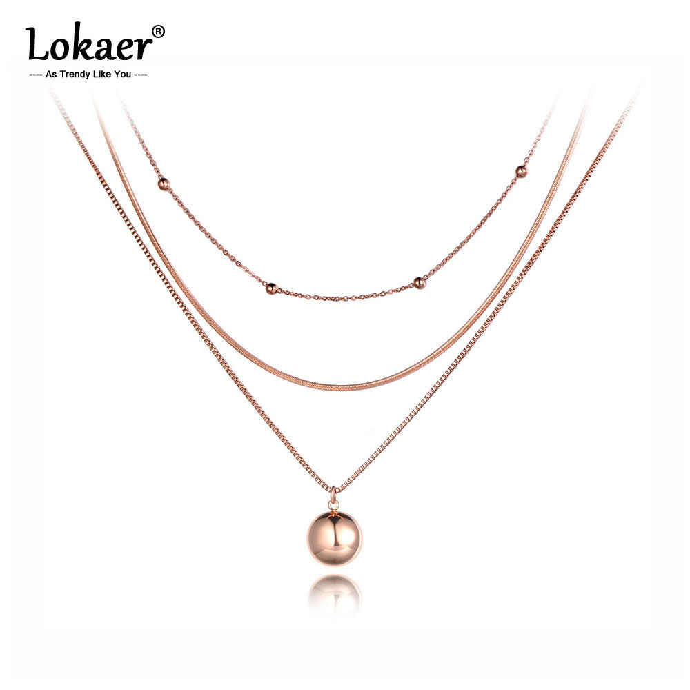 Lokaer Bohemia Titanium Stainless Steel Three-layer Round Ball Choker Necklaces Jewelry Pendant Chain Necklace For Women N19081