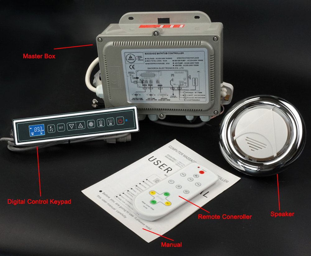 massage bathtub control system whirlpool controller rectangularl keypad 220V and 110V opetion GD 7001B