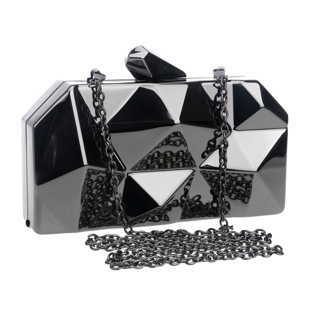 Black/silver/gold women evening bags geometric design small purse day clutches handbags with chain shoulder evening bags