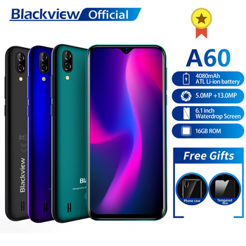 Blackview A60 Smartphone Quad Core Android 8.1 4080mAh Cellphone 1GB+16GB 6.1 inch 19.2:9 Screen Dual Camera 3G Mobile Phone iphone 6