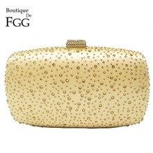 Boutique De FGG Hot Pink Fuchsia Crystal Diamond Women Evening Purse Minaudiere Clutch Bag Bridal Wedding Clutches Chain Handbag