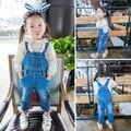 2016 весна осень модули горячий ребенок девушки джинсы девушки брюки корейский джинсовые комбинезоны для малышей Сплошной цвет моды брюки