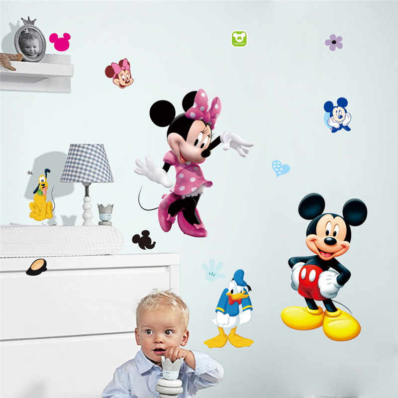 1 Pcs Mickey Minnie Mouse baby home decals Cartoon wall stickers for kids room baby bedroom wall art Switch Stickers