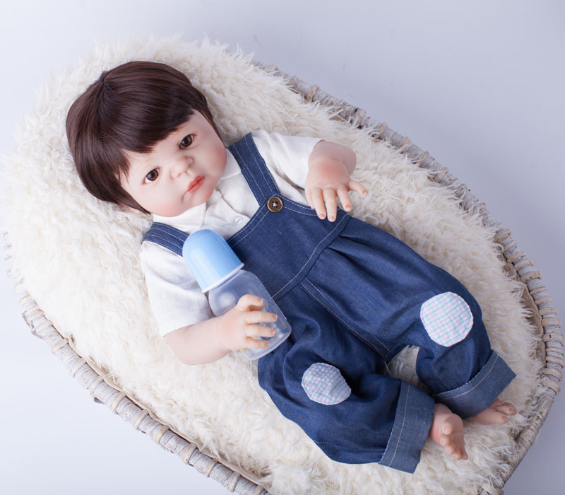 55cm Full Body Silicone Reborn Baby Doll Toys Play House Newborn Boy Baby Birthday Gift Christmas Present Bathe Toy