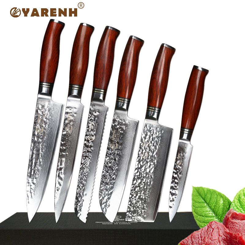 steel kitchen knives set aliexpress com buy 6 pcs kitchen knives set damascus