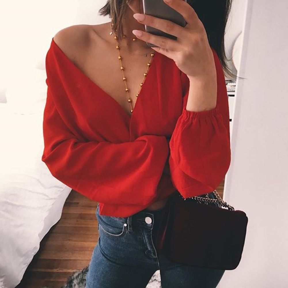 2018 summer women's sexy deep V-neck back bow chiffon Blouse