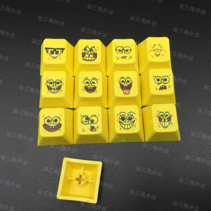 13pcs Sponge BOB PBT R4 Keycaps for Gaming Mechanical Keyboard