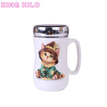 XING KILO  Ceramic drinking cup mug with lid large capacity milk cartoon couple creative mirror