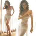Сексуальное Белье Глубокий V Пижамы Леди Кружева Ночной Сон Платье Для Женщин с Высокими Разрезами Перспективные Принцесса Ночная Рубашка Юбка + T брюки
