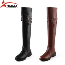 3mma Handmade Large Size Women Over The Knee High Boots Buckle Zip Riding Boots Black Brown Warm Long Women Botas Round Toe