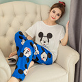 2017 Women 's lovely pajamas summer cotton short - sleeved trousers home thin couple sets