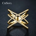 CHSOUL New Fashion Rings Double Cross X Mesh Ring Jewelry Zirconia Micro Rose Champagne Gold Plated Party For Women