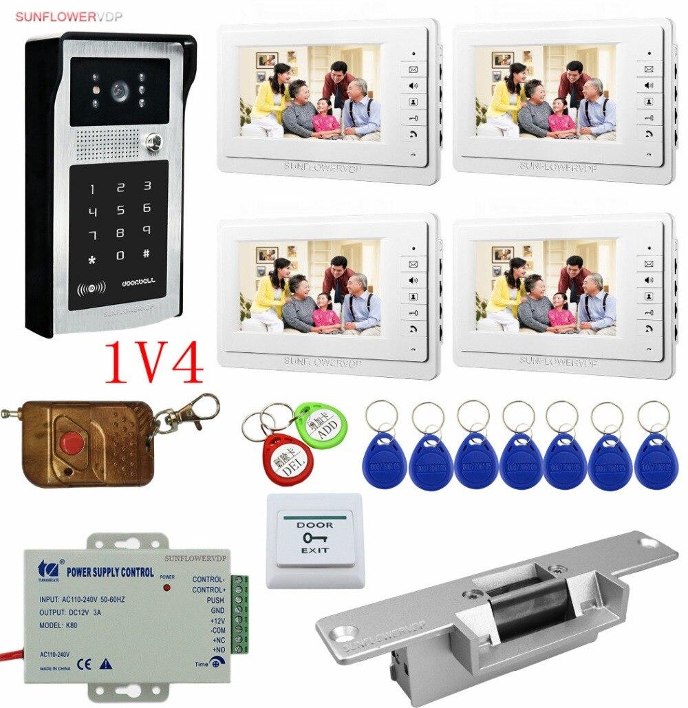 Rfid Keypad Home Video Door Phone 4 Monitors 7