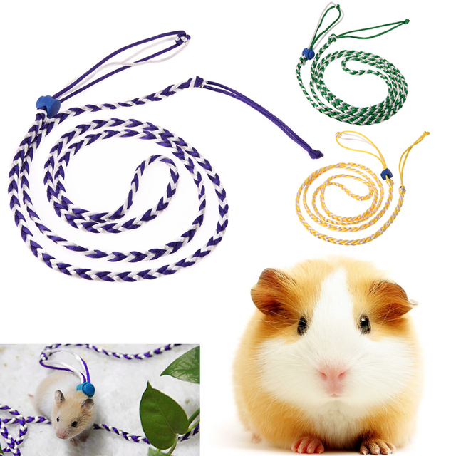 1.4M Adjustable Pet Hamster Leashes Gerbil Pet Cage Leash Cotton Rope Harness Lead Collar for Rat Mouse Hamster Pet Supplies