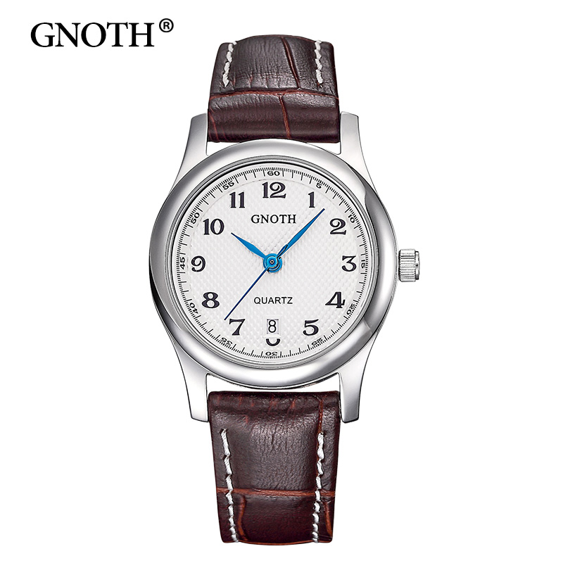 2017 New GNOTH Top Brand Quartz Women Watch Analog Display Sapphire High Quality Leather Strap Female Wristwatches Gift Hot Sale 2016 new hot sale brand magic star black white analog quartz bracelet watch wristwatches for women girls men lovers op001