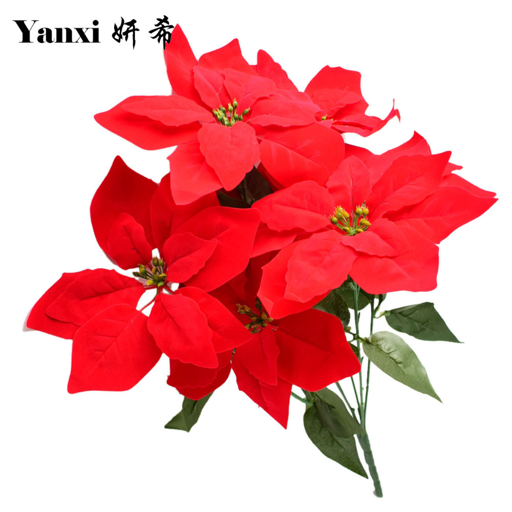 artificial poinsettia christmas flowers bouquet tree ornaments home garden decoration fake. Black Bedroom Furniture Sets. Home Design Ideas