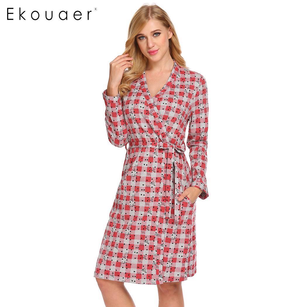 Ekouaer Women Cotton Sleepwear Spring Autumn Robe Kimono Bathrobe Plaid Print Long Sleeve Dressing Gown Female Loungewear