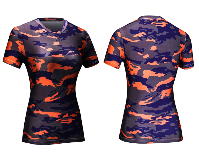 Women Professional Yo-ga Fitness Running Sports Camo T Shirt Four Needles Six Lines Gym Quick Dry Sweat Breathable Exercise Tees