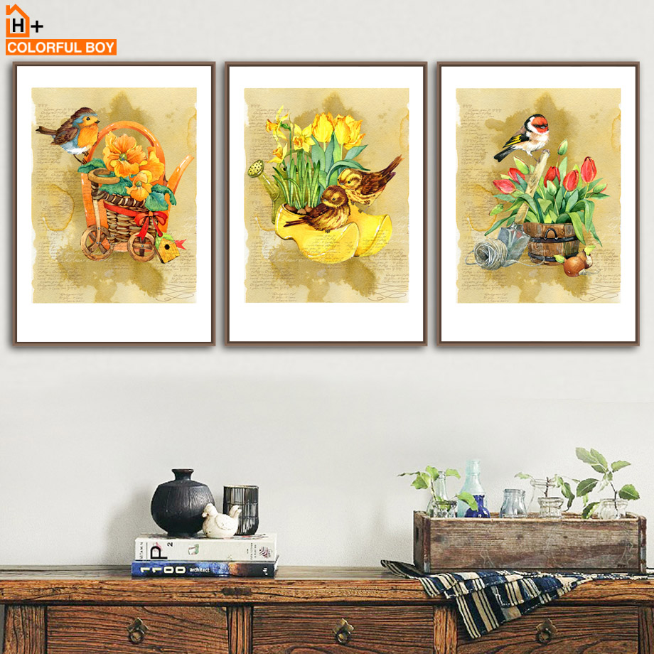 Flower Basket Bird Wall Art Print Canvas Painting Nordic Poster ...