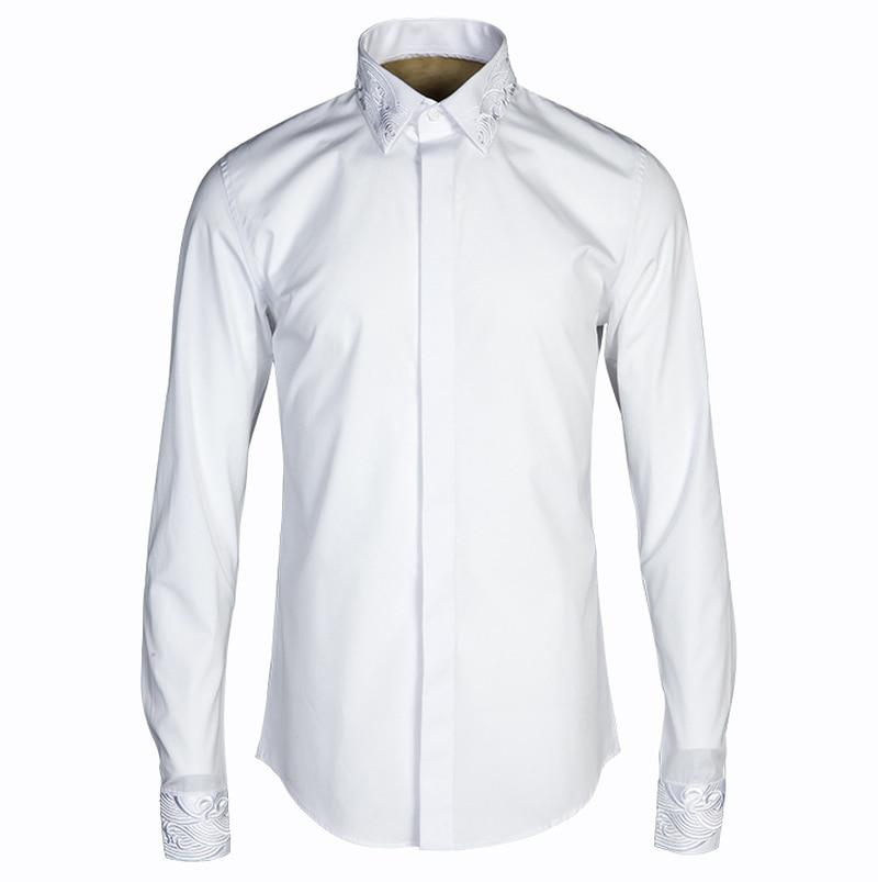 Chinese Style Collar Shirt Ropa De Hombre 2018 Men Fashion Shirt Men Harujuku Men Clothing Men Dress Shirts Long Sleeve