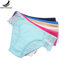Prettywowgo 6 pcs/lot New Arrival 2019 Underwear Sexy Lace Women Cotton Briefs Ladies Panties 9309