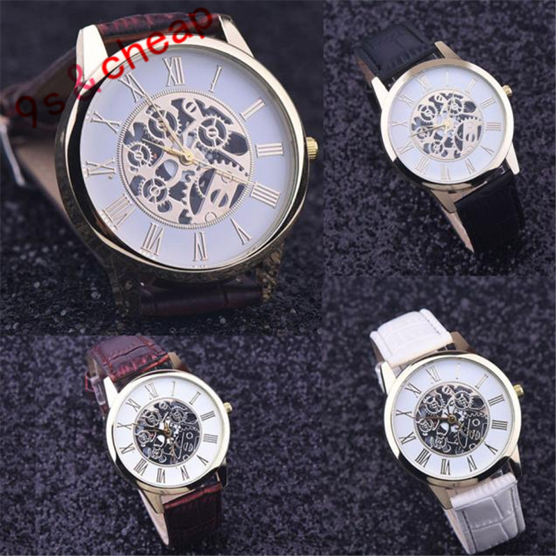 2017 Best Deal Fashion Golden hollow watch Luxury Casual steel font b Men s b font