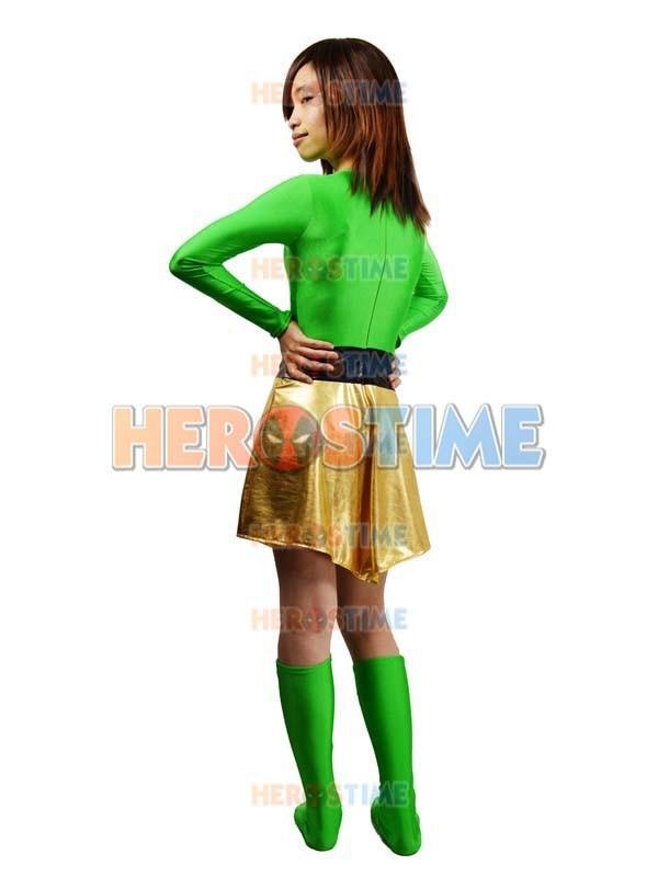 Spandex verde y Light Gold Metallic Superhero Costume disfraces de - Disfraces - foto 5