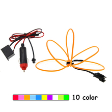 Car EL Wrie Cigarette Lighter Socket Plug Neon Light Decor LED lamp Flexible Wire Rope Tube Strip