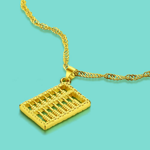 Us 4 79 49 Off Chinese Style Gold Jewelry Female Models 24k Necklace Abacus Pendant Design Quality 46cm Clavicle Chain Free Shipping In