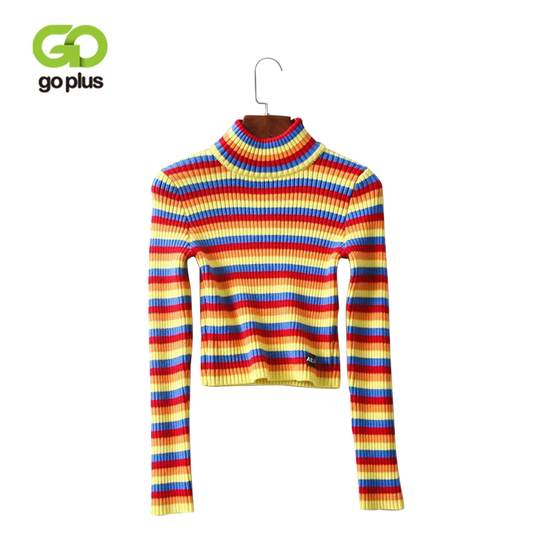 bc025c3ccf GOPLUS Rainbow Turtleneck Sweaters Women Autumn winter 2019 Retro Sweater  Knitted Clothes Fashion Striped Slim Sweater