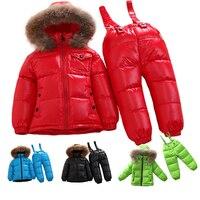 Fabrika fiyat promosyon Rusya kış çocuklar 90% ördek aşağı Doğal kürk giysi set çocuk erkek kız aşağı coat + aşağı pantolon