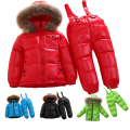 factory price promotion Russia winter kids 90% duck down Natural fur clothes set children's boys girls down coat +down pants