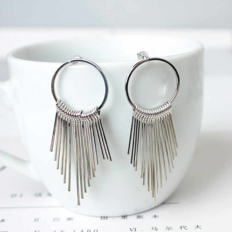 South Korea Earrings Jewelry Alloy Bohemia Long Tassel Temperament Simple Earrings For Women Gift Retro Exaggerated Earrings