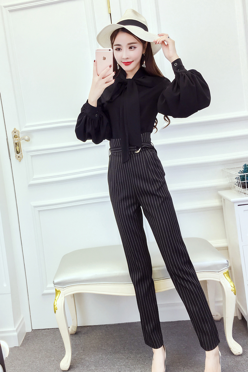 Women's 2018 Spring and Autumn new style chiffon blouse career wear stripes striped straight jeans Fashionable Set 10
