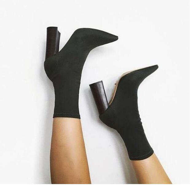Sexy Hunter Green /Black /Beige PU Ankle Boots Chunky Pointed Toe Women's Shoes Winter Fashion Feminine Martin Boots цены онлайн
