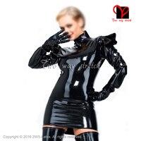 Sexy black long sleeves With frills Latex Dress Rubber outfit Gummi Playsuit top bodycon Mini Rubber dress Uniform XXXL QZ 106