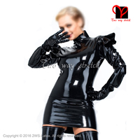 Sexy black long sleeves With frills Latex Dress Rubber outfit Gummi Playsuit top bodycon Mini Rubber dress Uniform XXXL QZ 106