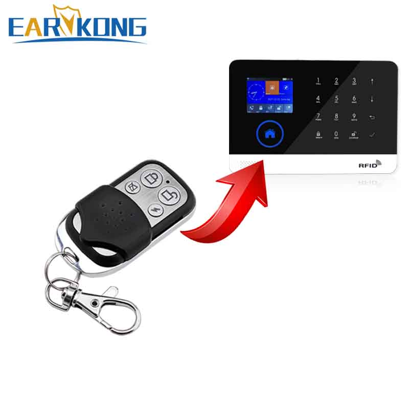 433MHz Wireless Metal Remote Controller Only For PG-103 / W2B Wifi GSM Alarm System Key Chain 433mhz four keys wireless remote controller for gsm alarm system