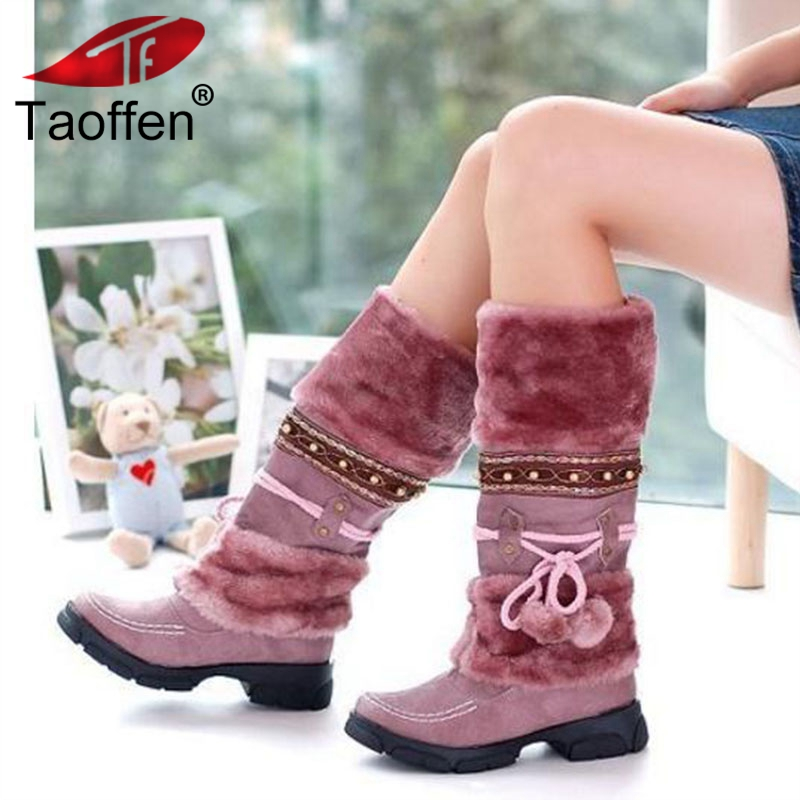 Taoffen NEW Winter Warm martin boots Thickened Fur High Heel Boots Women Shoes Fashion Sexy Long snow boots size 35-43 недорого
